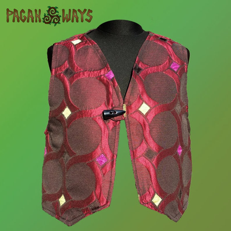 Fantasy gilet  red gilet with circle pattern  pagan image 0