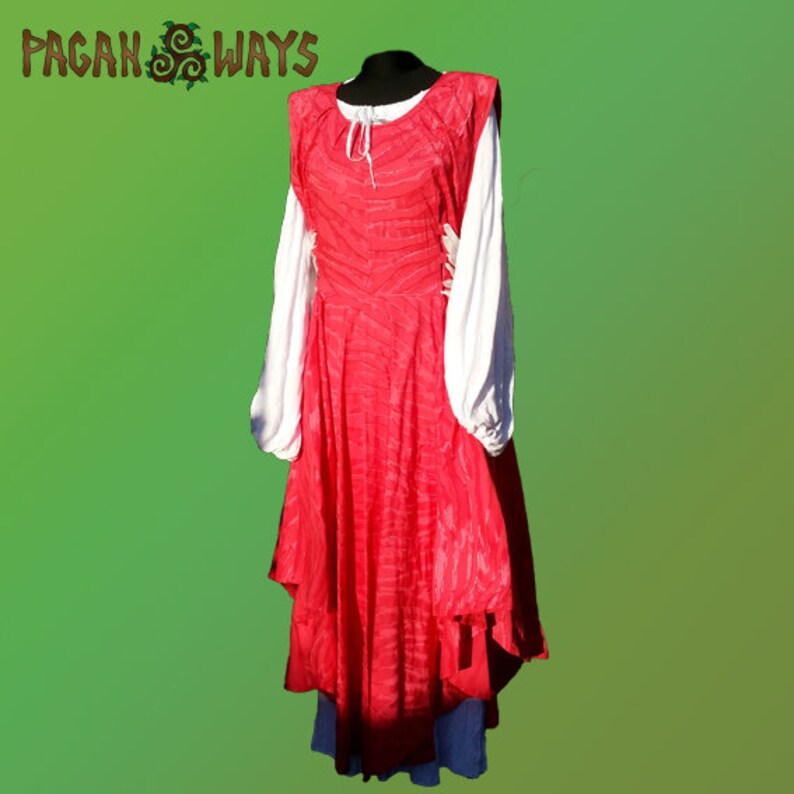Fantasy dress  dark pink / red and white dress with white image 0