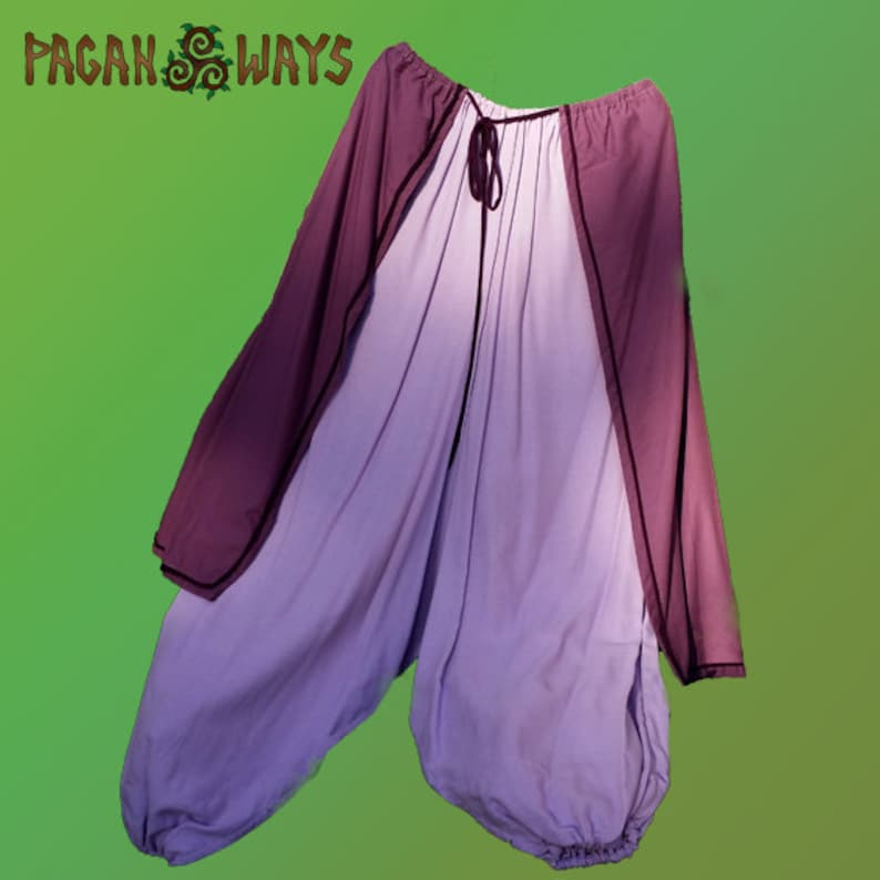 Baggy pixie pants  purple & lilac mauve pagan trousers  image 0