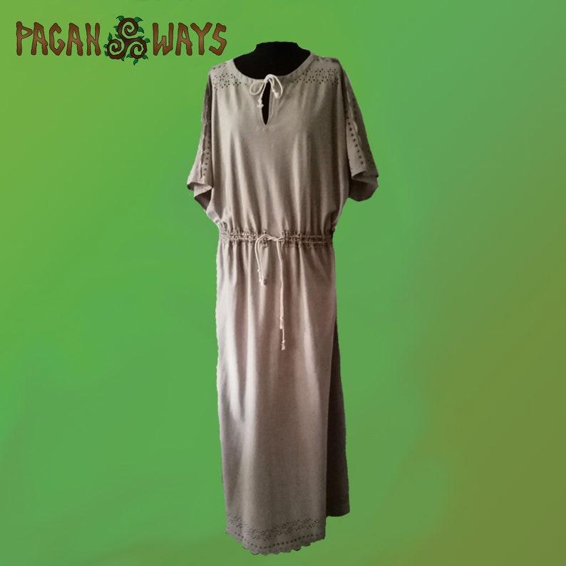 Off-white Pagan ritual dress with short sleeves  shaman dress image 0