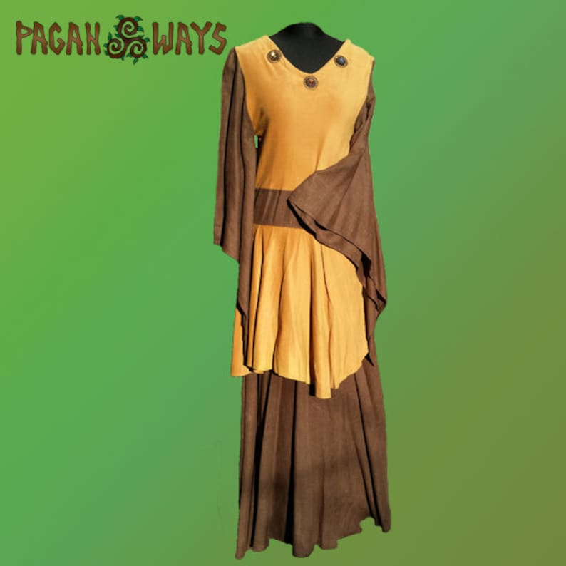 Pagan fantasy dress  brown and ocher / yellow dress with wide image 0