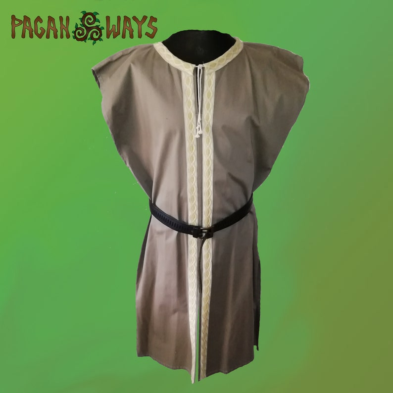 Beige brown medieval Viking tunic with beautiful ribbon  image 1
