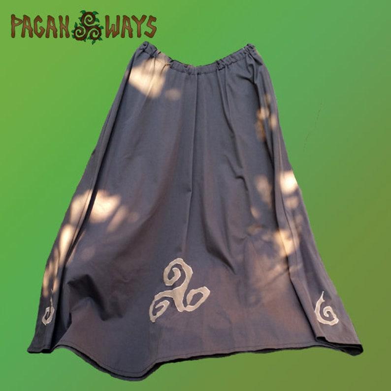 Celtic skirt  long brown skirt with triskel and spiral  image 0