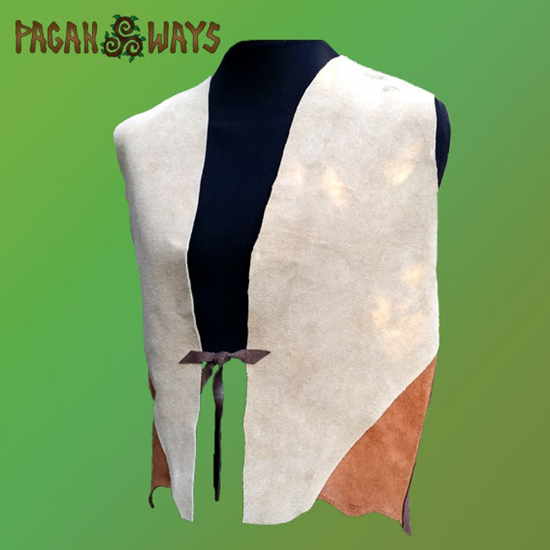 Pagan vest  brown leather with a spiral  Viking Celtic image 0