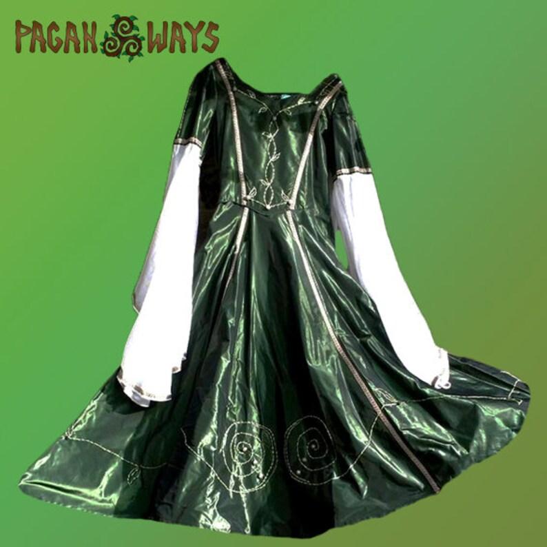 Pagan fantasy dress hand embroidered green taffeta taffety image 0