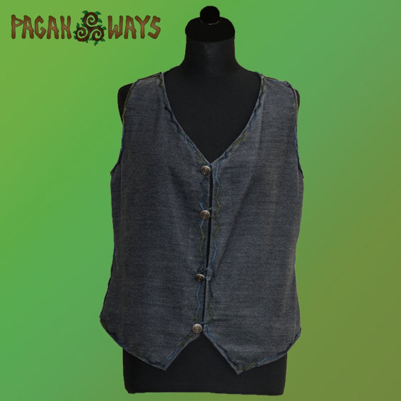 Short embroidered vest of blue raw cotton  pagan clothing image 0