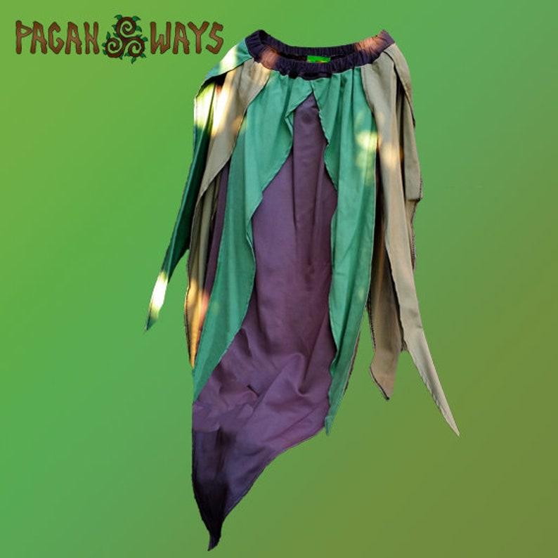 green brown earth color layered skirt Celtic fairy faery bohemian hippie indie folk psytrance goa fantasy festival Tribal pagan skirt