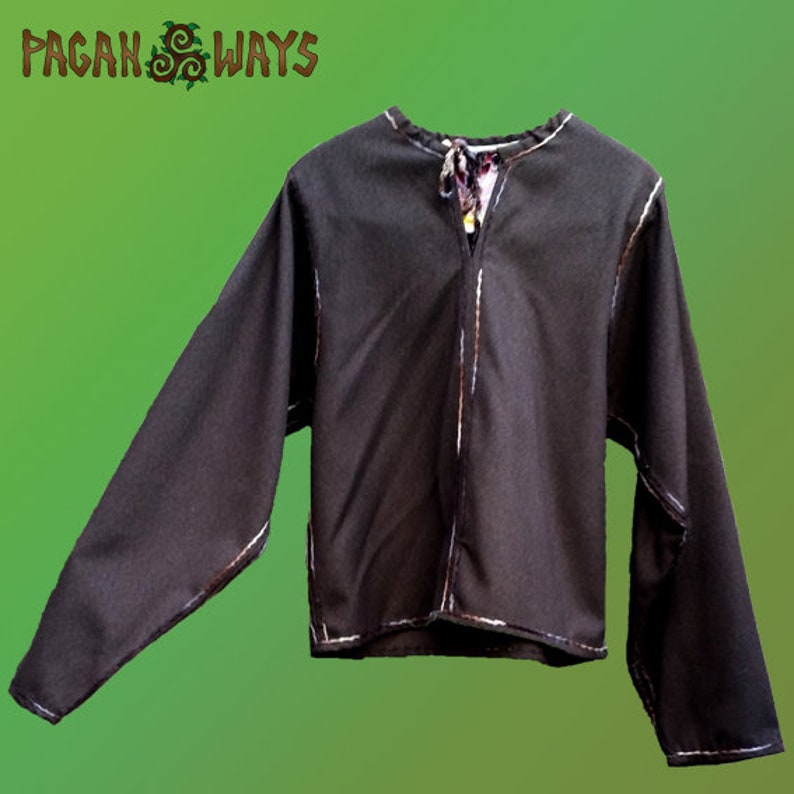 Woolen Viking tunic  brown tunic with brown and white thread image 0