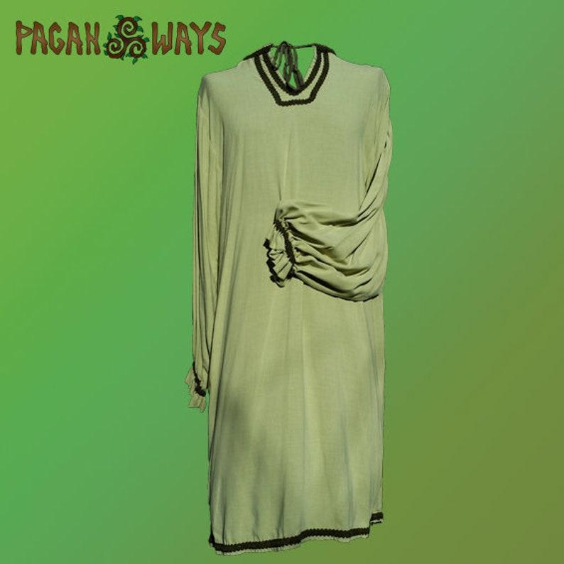 Pagan tunic  very light green tunic  Viking tunic Celtic image 0