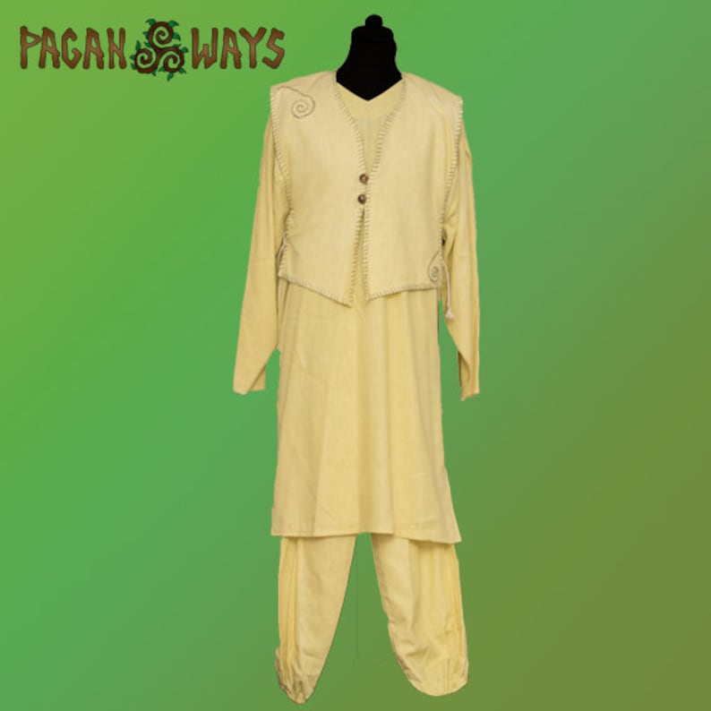 Handembroidered linen fantasy outfit  larp spiritual magick image 0