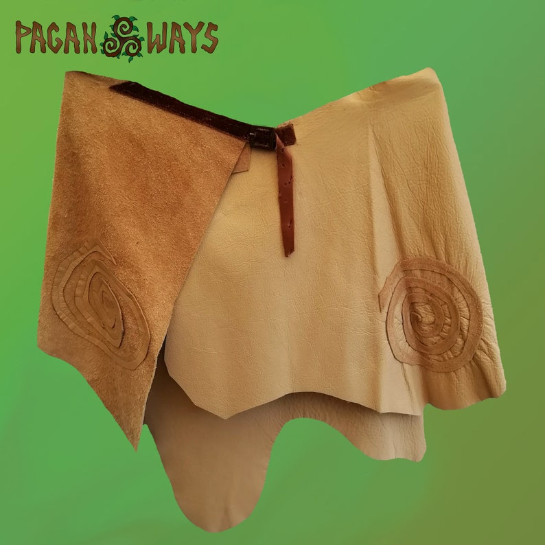 Beige brown leather / suede tribal pagan hipskirt with spirals image 0