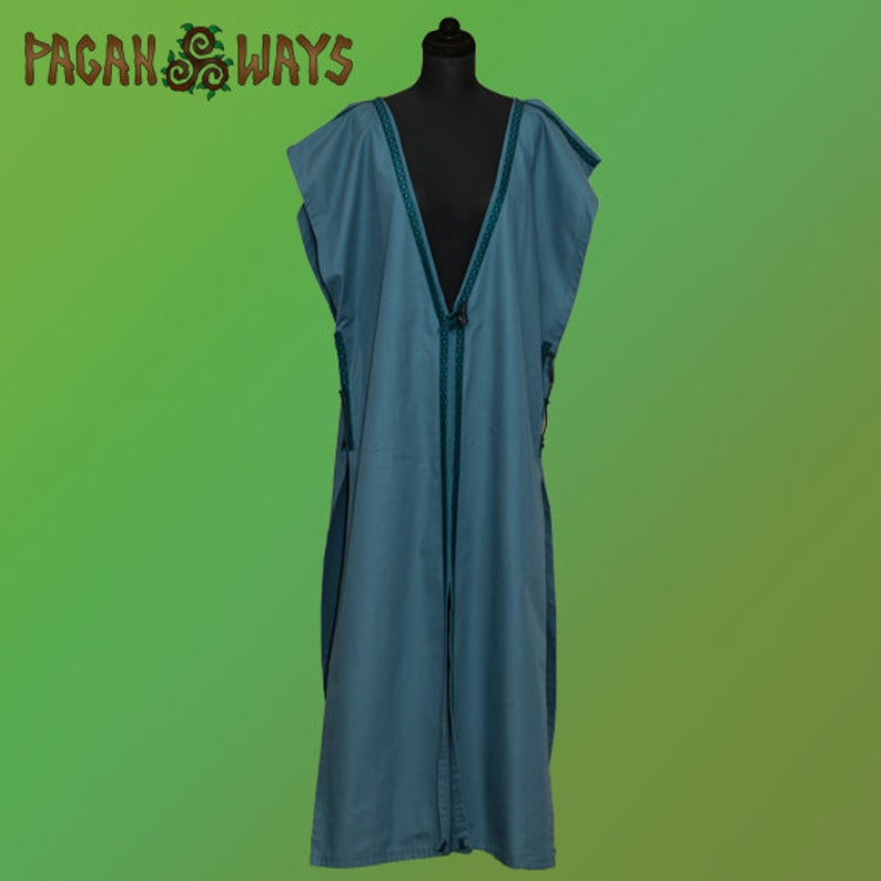 Long medieval blue coat with ribbon  middle ages living image 0