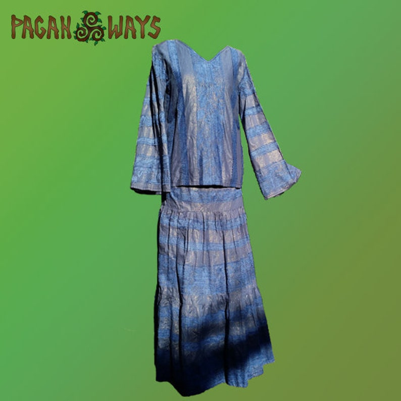 Complete outfit  blue shirt / tunic and blue skirt  pagan image 0