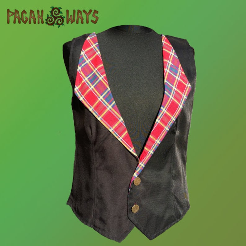 Scottish tartan gilet  black gilet with red tartan  Celtic image 0