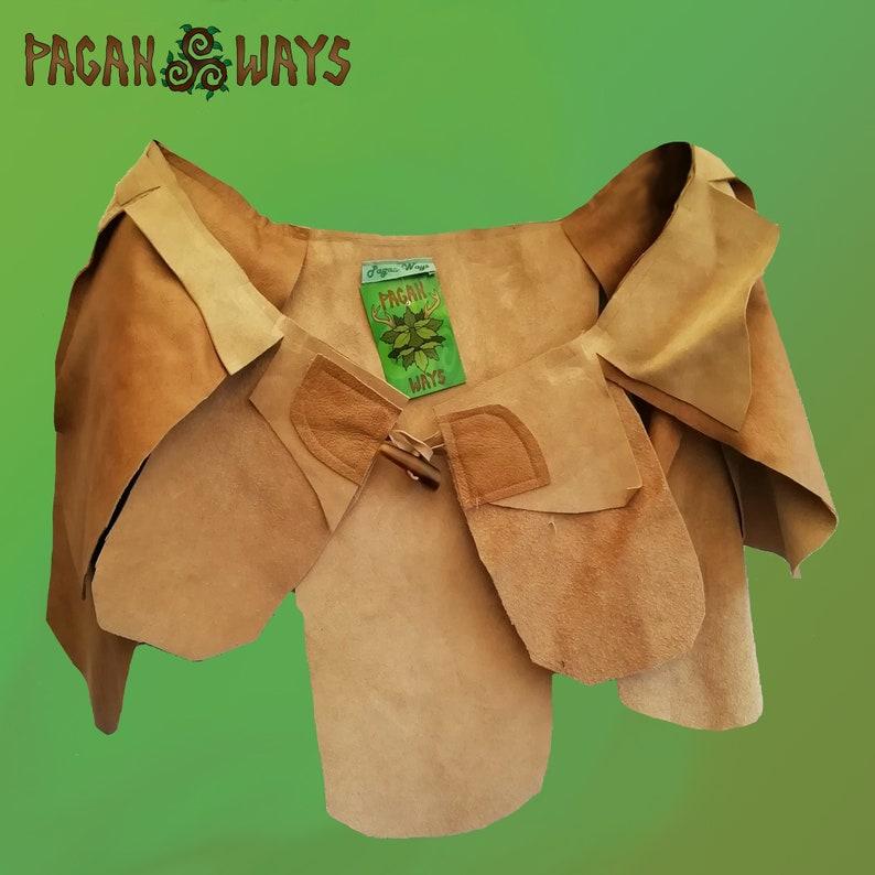 Light brown suede / hipskirt with petals skirt  pagan image 0