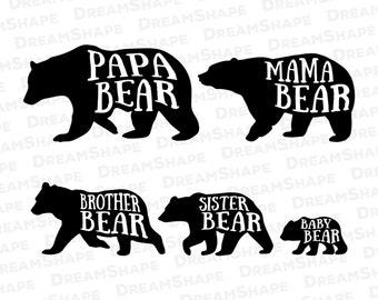 bear family svg etsy