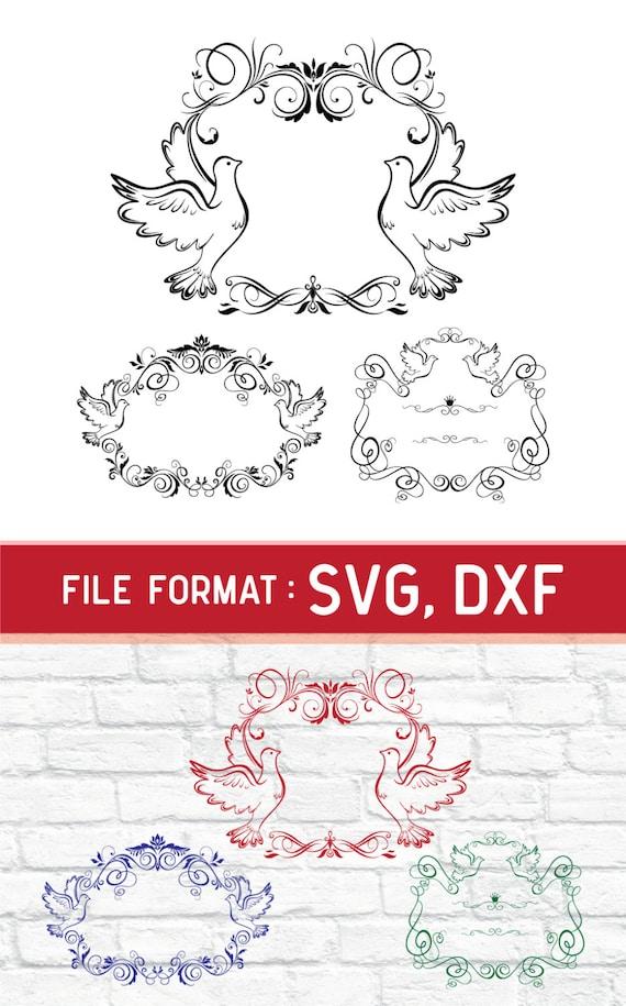 SVG Vogel Rahmen Monogramm Liebe Tauben SVG-Dateien Liebe