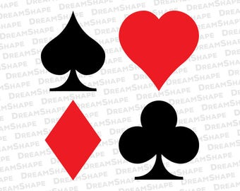 Poker Card Logo SVG Files, Poker Cards Symbol DXF Files, Spade Heart Club Diamond Poker Cards Solitaire Gambling SVG Files, Instant Download