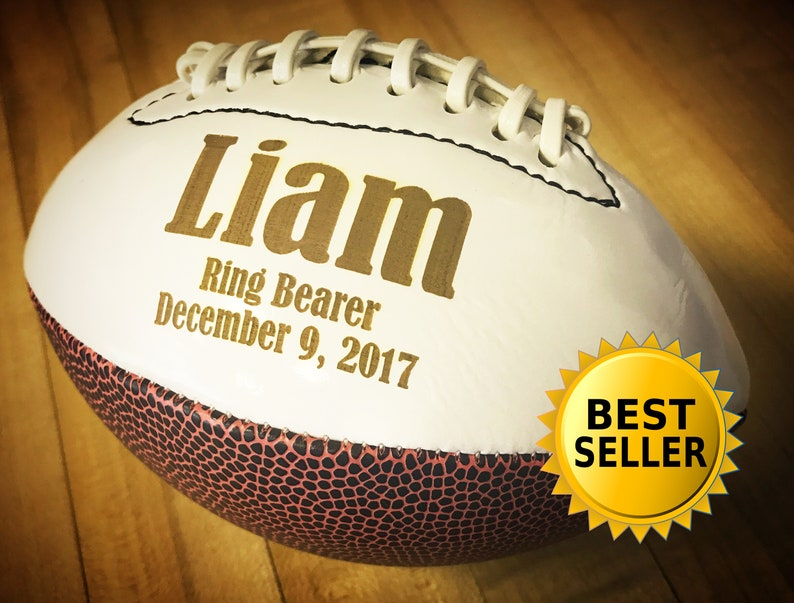Fathers Day Gifts Ring Bearer Gift Personalized Football image 0