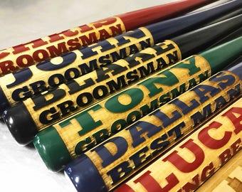 Groomsmen Gift, Personalized Bat, Mini Baseball Bat, Ring Bearer Gift, Wedding Gift, Custom Engraved, Baseball Bats, Gift for Him, Boys Gift