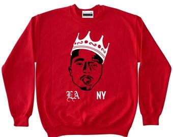 db95a7d1edfd1f Tupac   Biggie - Red Crewneck Sweatshirt To Match Retro Air Jordans 11 Win  Like 96 Gym Red XI Low IE Fire 5 V Suede Flight 12 Cherry Varsity