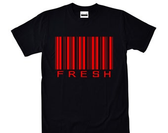 7750deefd891 Concrete   Luxury Men s Fresh Barcode - Black   Red T-shirt To Match Retro  Air Jordans 4 11 1 Banned bred 12 Flu Game 13 Dirty Bred 11lab4