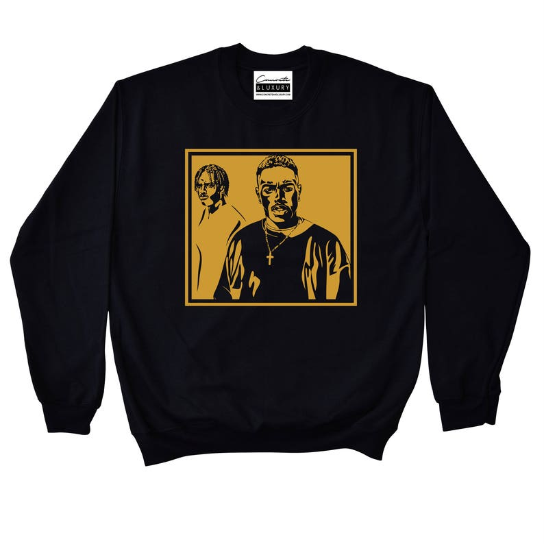 best sneakers b203f a362a Menace II Society - Black Crewneck Sweatshirt To Match Retro Air Jordan 11  XI PRM Heiress Stingray Black Gold Royalty 4s 5 Metallic Gold