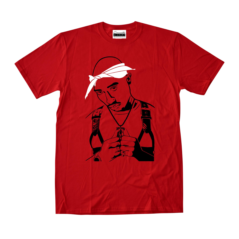 20af2e456ffde2 2Pac Tupac Shakur Red T-shirt To Match Retro Air Jordans 11