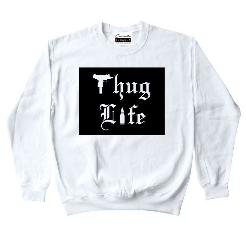 8eef71f5e6d613 Thug Life White Crewneck To Match Retro Air Jordan 9 LA All