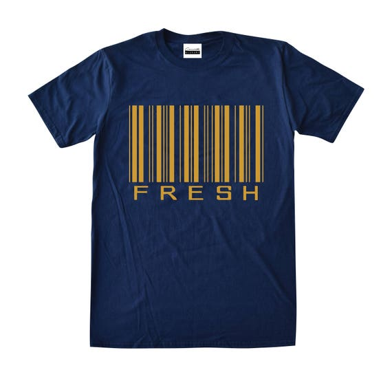 8ab89861d82a8f Concrete   Luxury Mens Fresh Barcode Navy   Gold T-shirt To