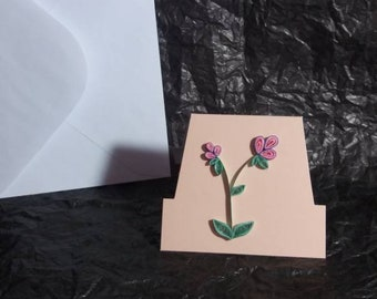 Bottom open note card with hand quilled flowers