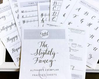 Modern Calligraphy Worksheet - PRINTABLE DOWNLOAD - Slightly Fancy Alphabet Exemplar, Calligraphy Practice Sheets, Letter Formation