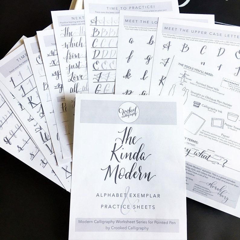 Modern Calligraphy PRINTABLE Worksheet  INSTANT DOWNLOAD  image 0