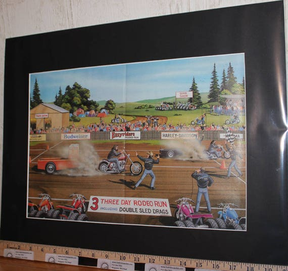 "David Mann ""Easyriders Rodeo Run"" 16'' x 20'' Matted Biker Art #8805ezrxmb"