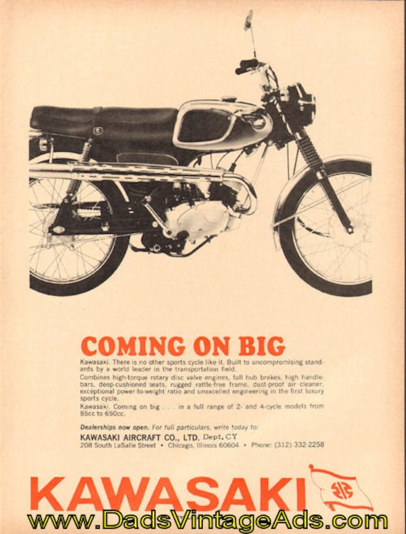 1966 Kawasaki - ''Coming on Big'' Vintage Motorcycle Ad #e66da12