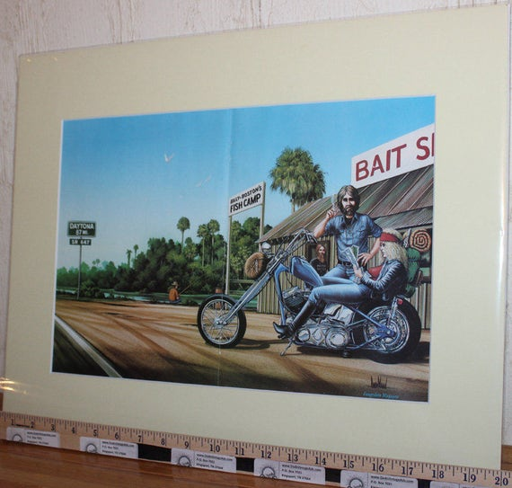 "David Mann ''Pit Stop At The Bait Shack'' 16"" x 20"" Matted Motorcycle Biker Art #8302ezrxm"