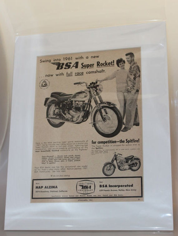1961 BSA Super Rocket 11'' x 14'' Matted Vintage Motorcycle Ad Art #e61da07m