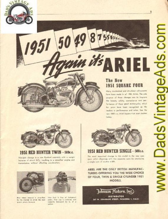 1951 Ariel Square Four / Red Hunter Twin & Single Ad #t50ka06