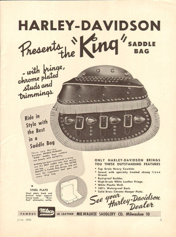 1950 Harley-Davidson - King Saddlebag - 1-Page Ad #5006amot11