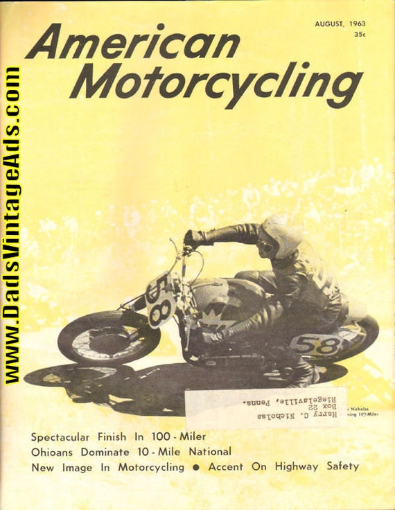 1963 August American Motorcycling Motorcycle Magazine Back-Issue #6308amot