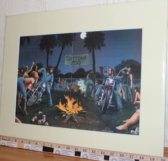 David Mann ''Daytona Zoo'' 16'' x 20'' Matted Biker Art #8603ezrxmc
