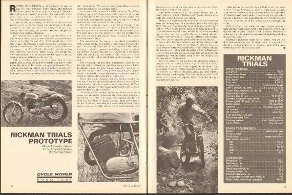 1971 Rickman Trials Prototype 2-Page Motorcycle Road Test Article #ncg20