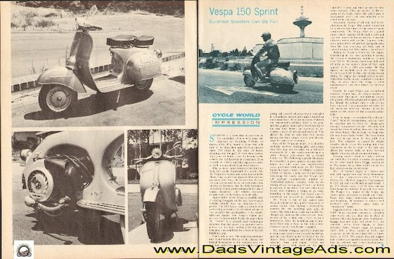 1968 Vespa 150 Sprint Scooter Impression 2-Page Article #d68ia27