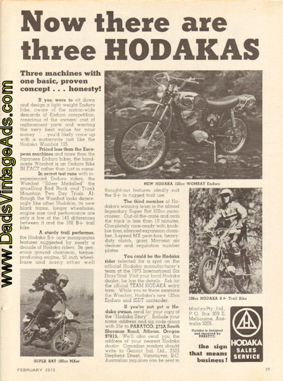 1973 Hodaka - Now there are three Hodakas - Ad #d73ba04
