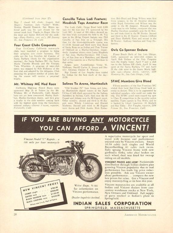 1950 Vincent Model C Rapide - 1/2-Page Vintage Motorcycle Ad #5006amot05