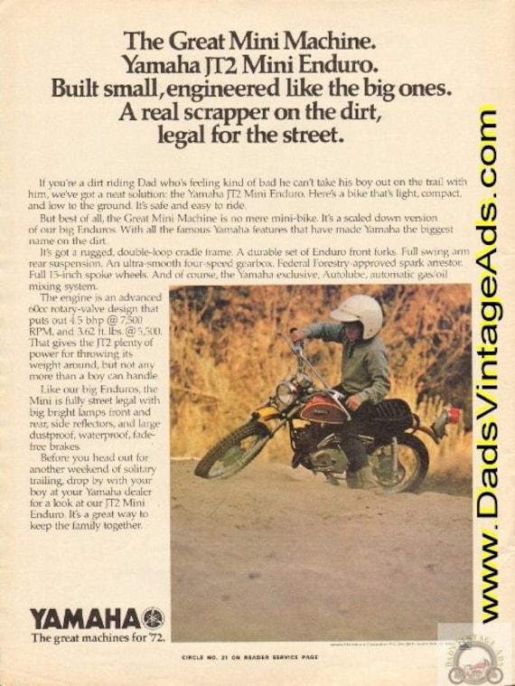 1972 Yamaha JT2 Mini Enduro Vintage Ad #e72ga05