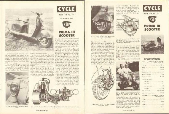 1961 NSU Prima III Scooter Road Test 3-Page Article #n85