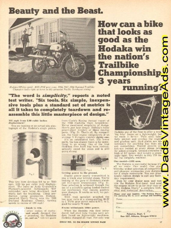 1969 Hodaka Motorcycle Actual Size Piston Photo Ad #e69fa13