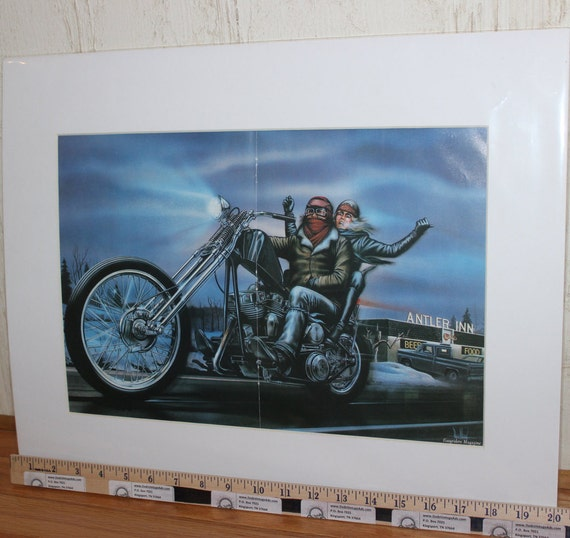 "David Mann ""Antler Inn"" 16'' x 20'' Matted Motorcycle Biker Art #8212ezrxm"