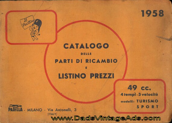 1958 Moto Parilla Parillino 49cc Spare Part Catalogue & Price List #mm91